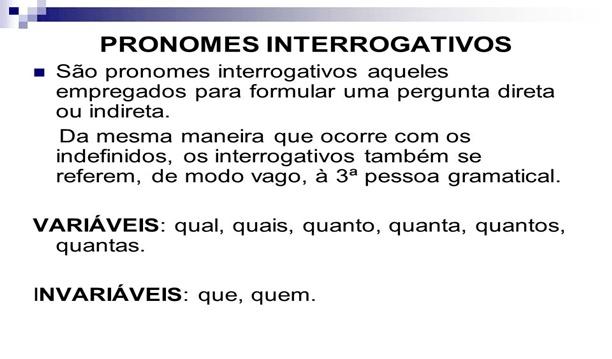 Lista de Pronomes Interrogativos