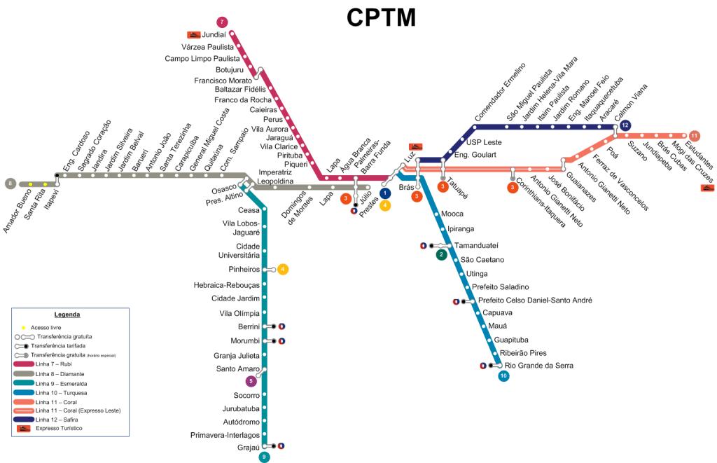 Mapas das linhas da CPTM