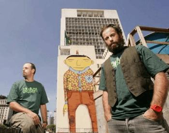 """Grafite de """"Os Gêmeos"""" é apagado no Vale do Anhangabaú em São Paulo"""