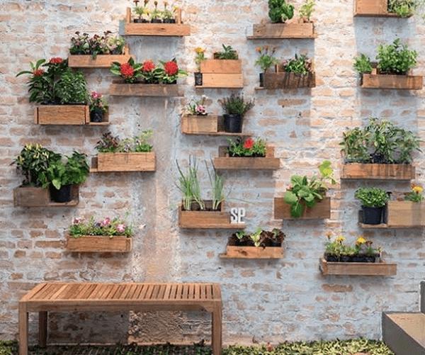vasos decoração jardim vertical