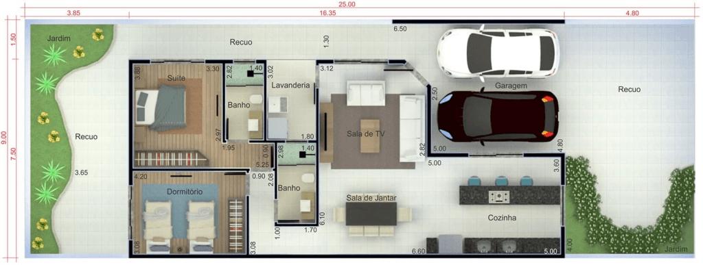 planta casa térrea com 2 quartos