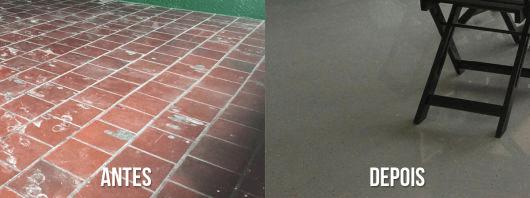 Piso Pintado com Tinta Epóxi antes e depois